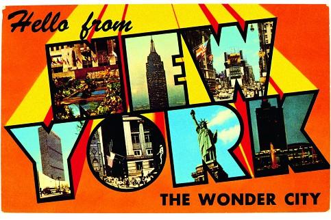 ny postcard 1950